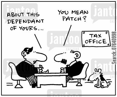 dependants cartoon humor: 'About this dependant of yours.'