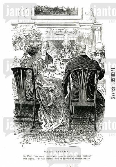 old age cartoon humor: Major and young lady at the diner table