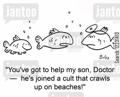 joined cartoon humor: 'You've got to help my son, Doctor — he's joined a cult that crawls up on beaches!'