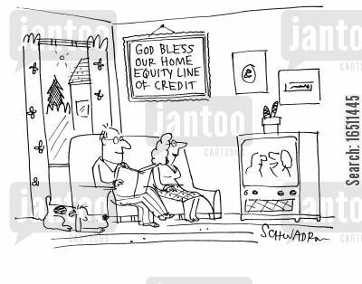 home equities cartoon humor: God bless our home equity line of credit.
