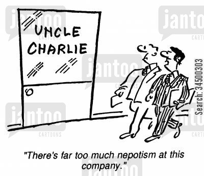 family company cartoon humor: There's too much nepotism at this company.