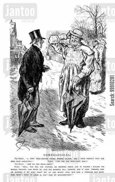 grandmothers cartoon humor: Rector speaking to man about his family