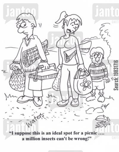 family outings cartoon humor: 'I suppose this is an ideal spot for a picnic.... a million ants can't be wrong!'