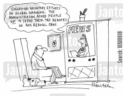 fatherly advice cartoon humor: Suggesting voluntary efforts on global warming....
