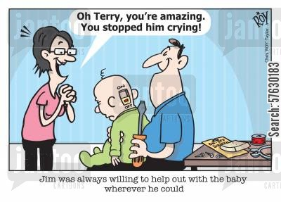 crying babies cartoon humor: Jim was always willing to help out with the baby wherever he could.