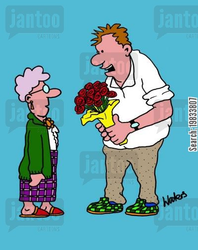 bunch of flowers cartoon humor: Say it with flowers