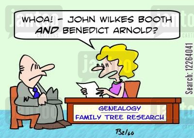 ancestry cartoon humor: GENEALOGY - FAMILY TREE RESEARCH, 'Whoa! -- John Wilkes Booth AND Benedict Arnold?'