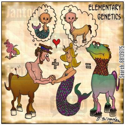 cupids arrow cartoon humor: Elementary Genetics