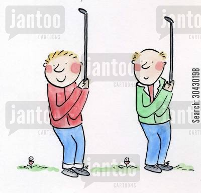 like father like son cartoon humor: Father and son play golf.