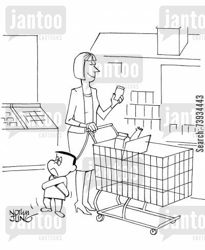 grocery shops cartoon humor: Mother has strait jacket on son to control him at super market.
