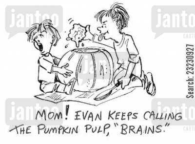 little brother cartoon humor: 'Mom! Evan keeps calling the pumpkin pulp, 'brains.'