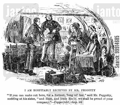 abode cartoon humor: I am hospitably received by Mr. Peggotty