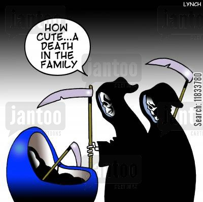 cradle cartoon humor: A death in the family