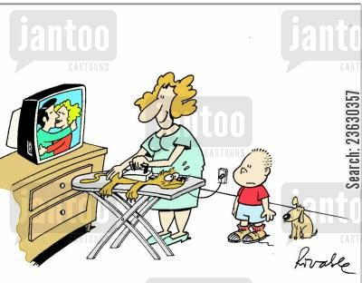 concentration cartoon humor: Absent-minded housewife ironing the cat.