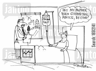 hostpital cartoon humor: Doctor receiving advice from patient's mother