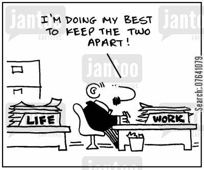 out boxes cartoon humor: 'Life, work. I'm doing my best to keep the two apart.'