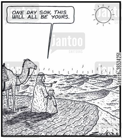 family line cartoon humor: Arab Man: 'One day Son,this will all be yours.'