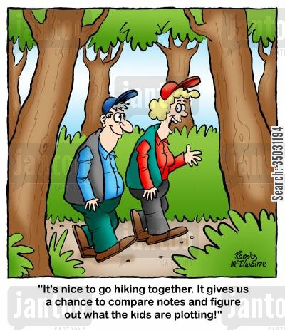 mothers day cartoon humor: 'It's nice to go hiking together. It gives us a chance to compare notes and figure out what the kids are plotting!'