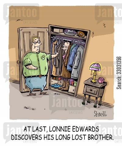 family member cartoon humor: At last, Lonnie Edwards discovers his long lost brother.