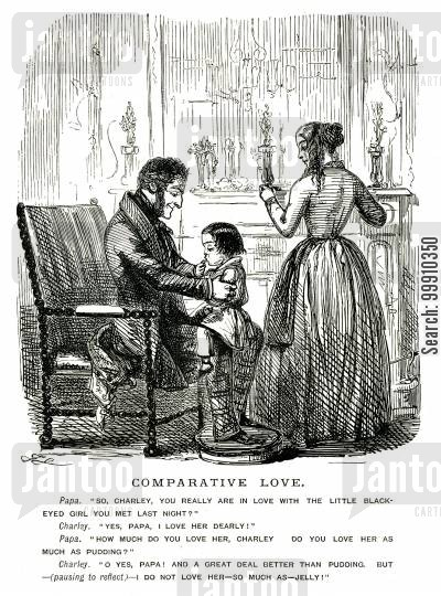 first love cartoon humor: Boy on father's knee
