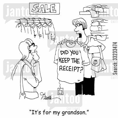 gift receipts cartoon humor: 'It's for my grandson.'