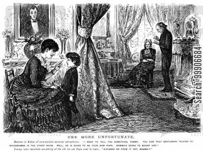 widows cartoon humor: A widow informing her son of her intentions to marry a new gentleman