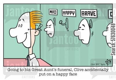 gaffe cartoon humor: Going to his great Aunt's funeral, Clive accidentally put on a happy face.