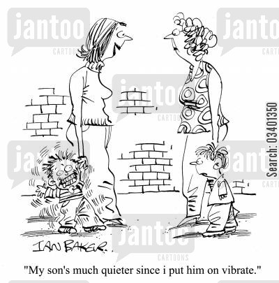 mobile phone settings cartoon humor: 'My sons' much quieter since I put him on vibrate.'