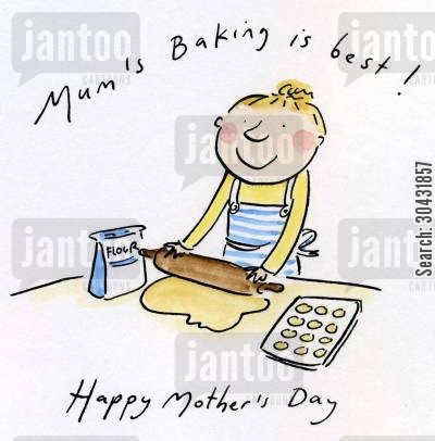 making cakes cartoon humor: Mum's Baking is best!