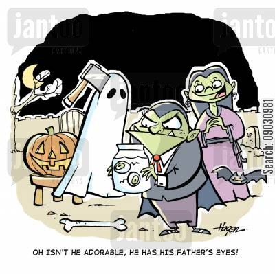 cratures cartoon humor: 'Oh isn't he adorable, he has his father's eyes!'
