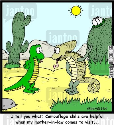 son in laws cartoon humor: 'I tell you what: Camouflage skills are helpful when my mother-in-law comes to visit...'
