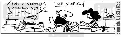 clean shoes cartoon humor: Has it stopped raining yet?