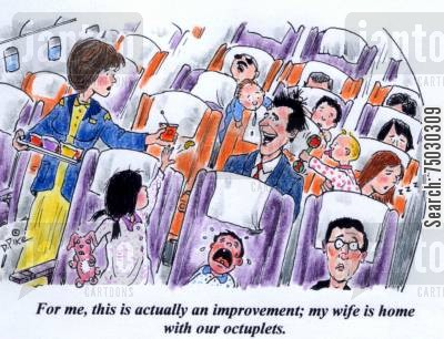 public transports cartoon humor: 'For me, this is actually an improvement; my wife is home with our octuplets.'