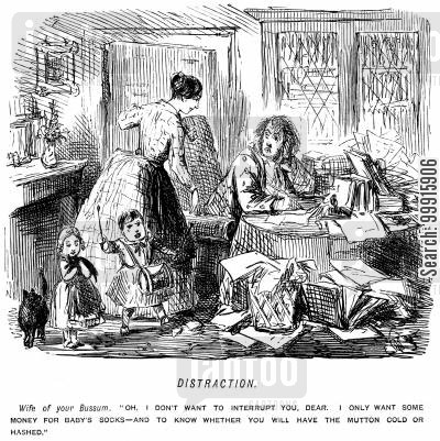 concentration cartoon humor: Man is interrupted by his wife and children whilst trying to work