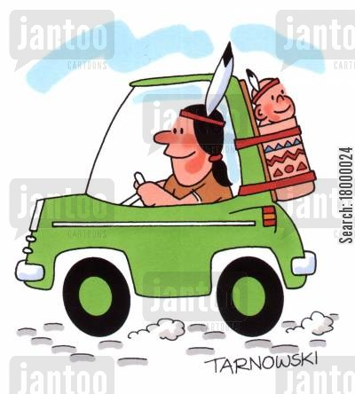papoose cartoon humor: Baby car seat for a Native American.