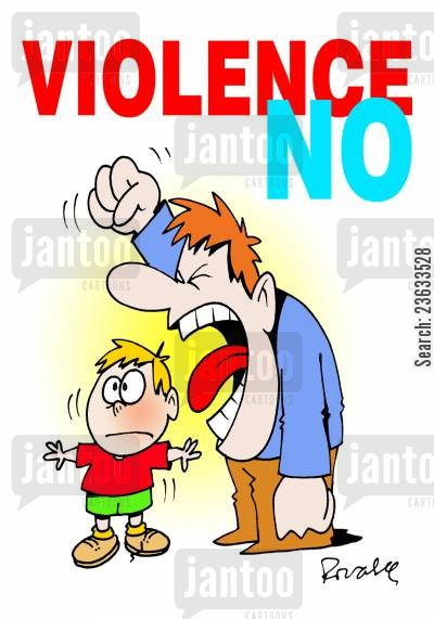pacifist cartoon humor: 'Violence No.'