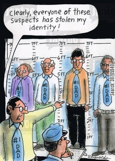 novelty tie cartoon humor: 'Clearly every one of these suspects has stolen my identity.'