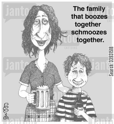 schmooze cartoon humor: The family that boozes together schmoozes together.