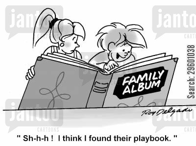 albums cartoon humor: 'Shhh! I think I found their playbook.'