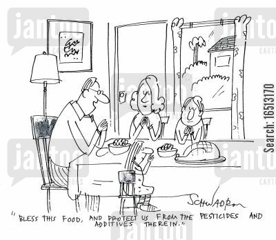 additive cartoon humor: 'Bless this food, and protect us from the pesticides and additives therein.'