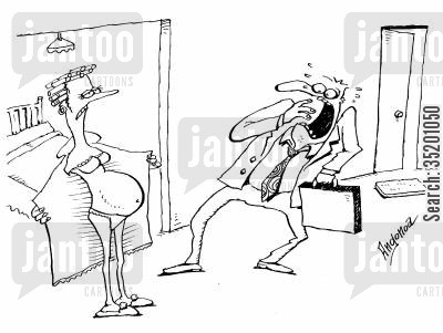 expose cartoon humor: Woman showing her husband her pregnant stomach.