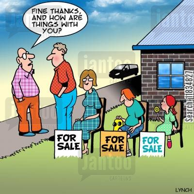 garden sale cartoon humor: 'Fine thanks, and how are things with you?'