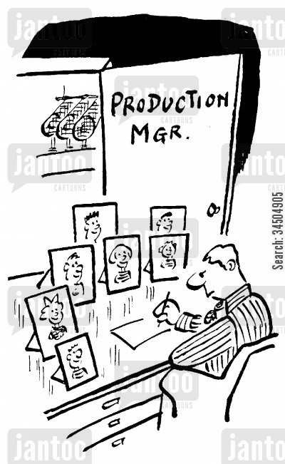 family portraits cartoon humor: Production manager with lots of children.