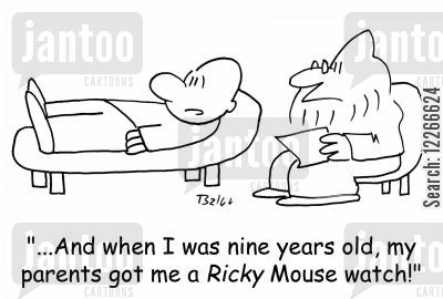 ricky cartoon humor: '...And when I was nine years old, my parents got me a RICKY Mouse watch!'