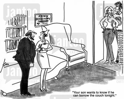 psychiatrists' couches cartoon humor: 'Your son wants to know if he can borrow the couch tonight.'