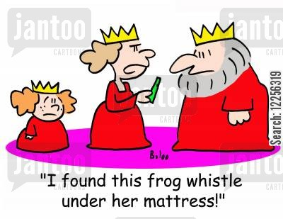 frog whistles cartoon humor: 'I found this frog whistle under her mattress!'