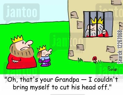 behead cartoon humor: 'Oh, that's your Grandpa -- I couldn't bring myself to cut his head off.'
