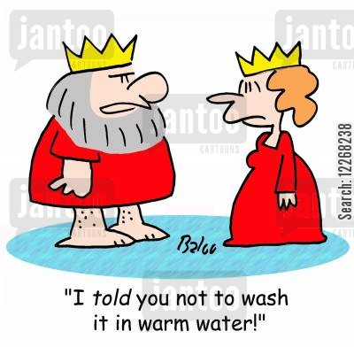 shrunk cartoon humor: 'I TOLD you not to wash it in warm water!'