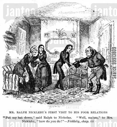 benefaction cartoon humor: Mr. Ralph Nickleby's first visit to his poor relations