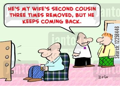 distant relative cartoon humor: 'He's my wife's second cousin three times removed, but he keeps coming back.'